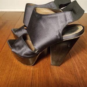Vintage Marni black satin platform heels